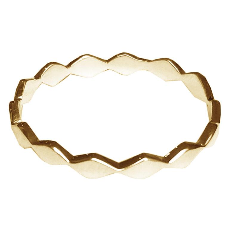 Smalle gouden ring met zigzag kant