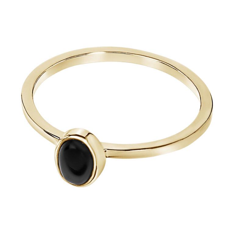Fijne gouden ring met ovaal design en zwarte steen
