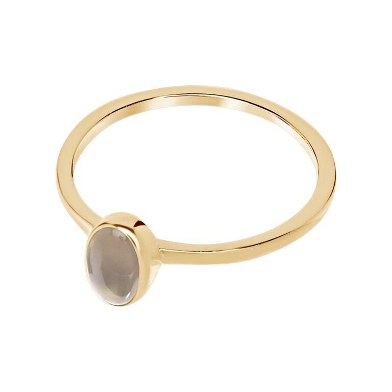 Fijne gouden ring met ovaal design en grijze steen