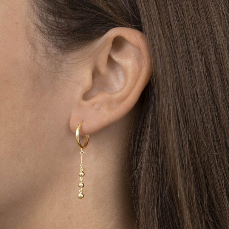 Yaim 18K Gold Plated 3 ballen schakel hanger met cirkel ring gold plated oorbel