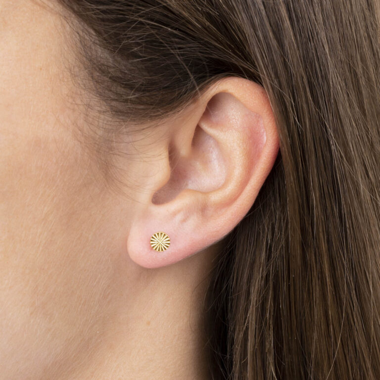 Zjosi 18K Gold Plated Ronde ster textuur stud gold plated oorbel