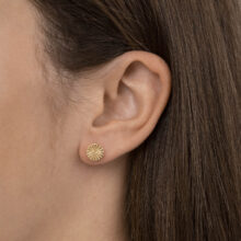Zivi 18K Gold Plated Ronde ster textuur stud gold plated oorbel