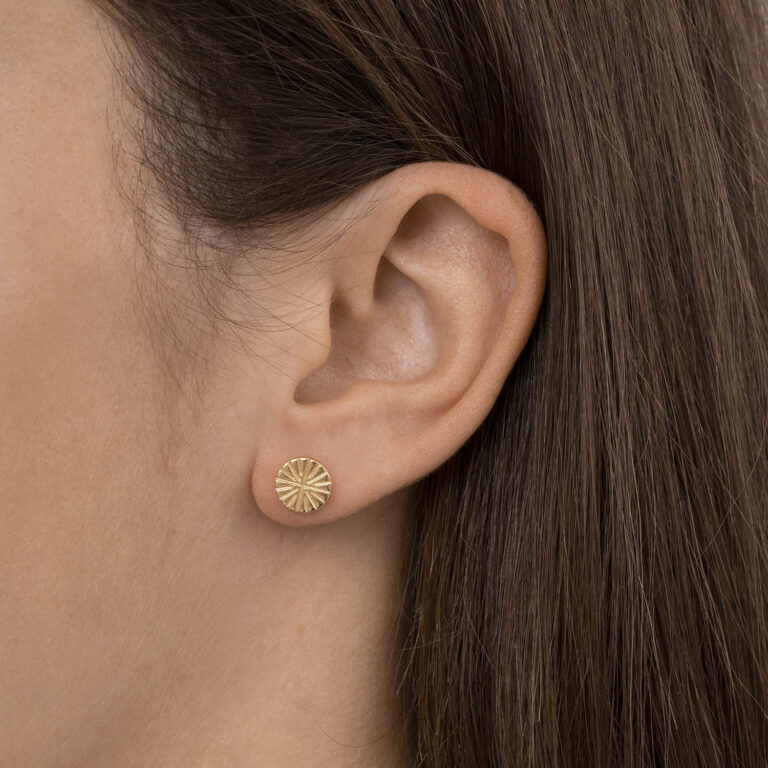 Zivi 18K Gold Plated Round star textured stud gold plated earring