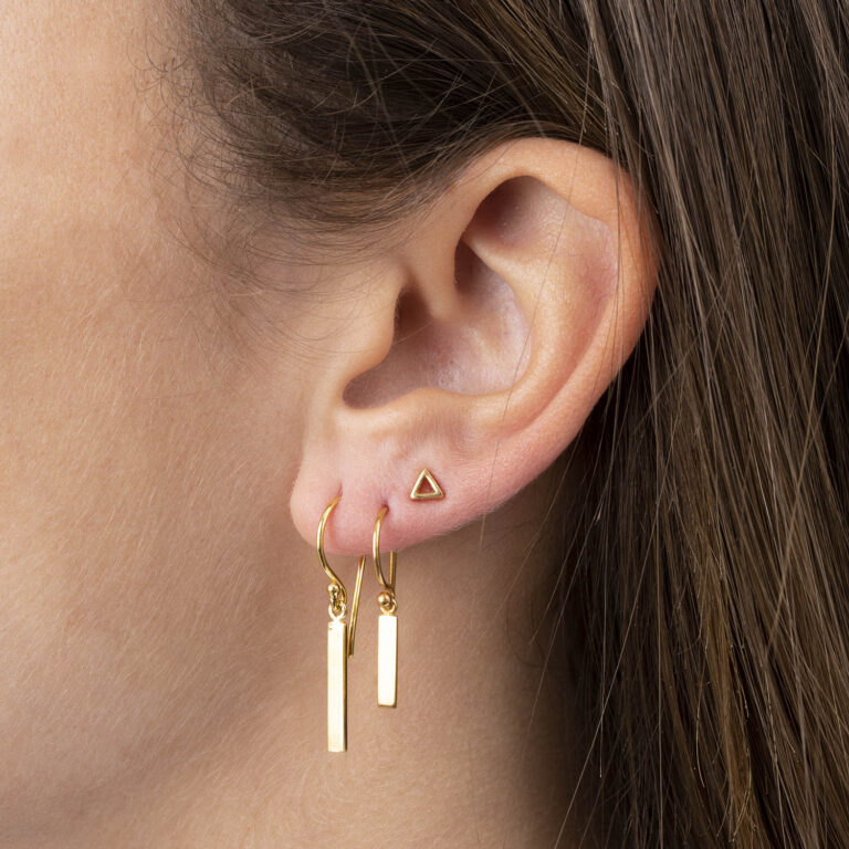Dyre S 18K Gold Plated Bar dangle gold plated earring