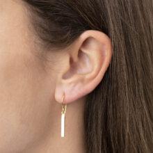 Dyre M 18K Gold Plated Lange staaf hangende gold plated oorbel