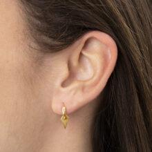 Geah 18K Gold Plated Cirkel ring met 6 hoekige hanger gold plated oorbel