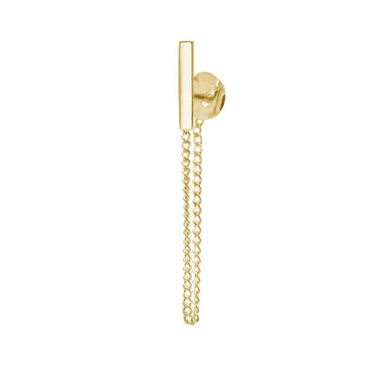 Oane 18K Gold Plated Chain drop front and back gold plated earring