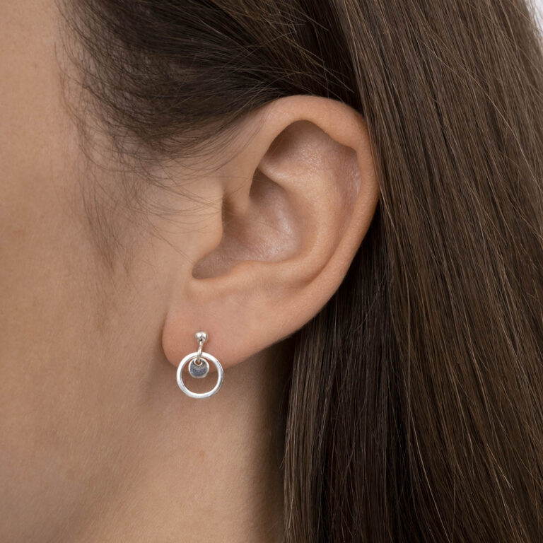 Elana 18K Gold Plated Stud with 2 circles gold plated earring