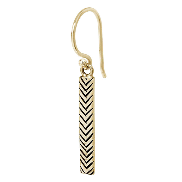 Feyza 18K Gold Plated Long rectangle V textured gold plated earring