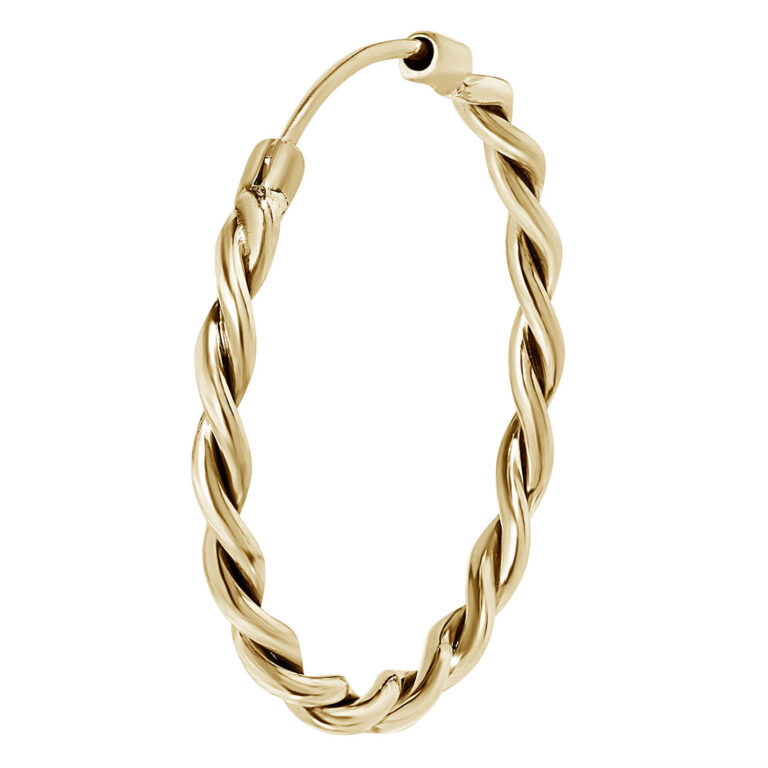 Giggi M 18K Gold Plated Circel ring with twisted texture gold plated earring