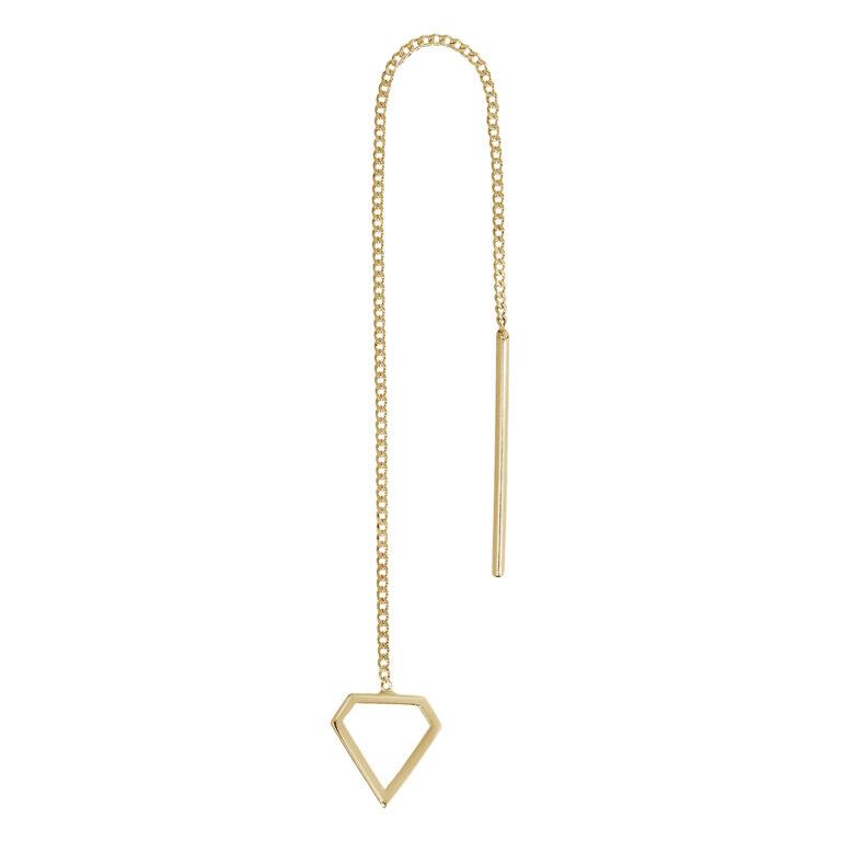 Gouden ketting oorbel met driehoek hanger
