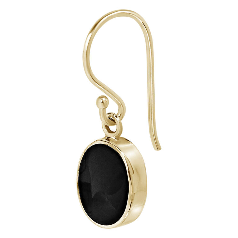 Hiske 18K Gold Plated Round black stone pendant gold plated earring