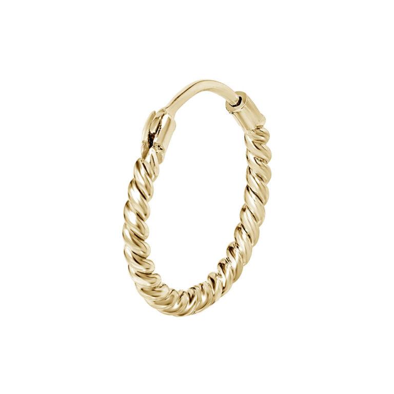 Hyke 18K Gold Plated Cirkel ring met gedraaide textuur gold plated oorbel