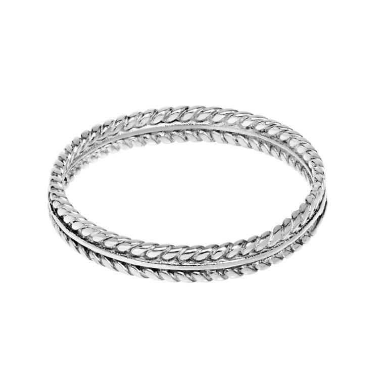 Zilveren fijne ring met gevlochten randen