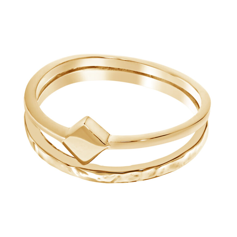 Dubbele ring met vierkant design