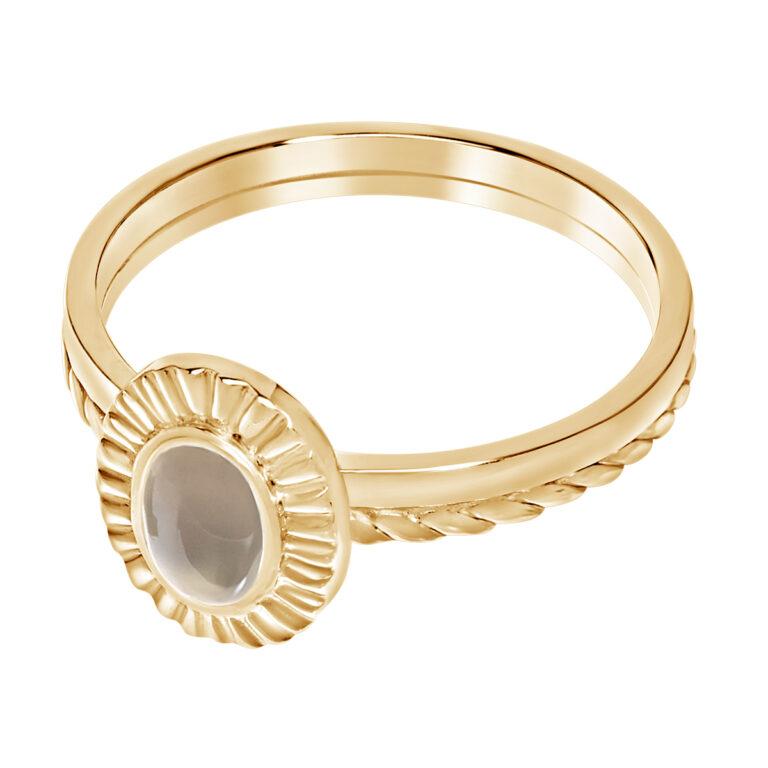 Ring met ovaal design en grijze steen