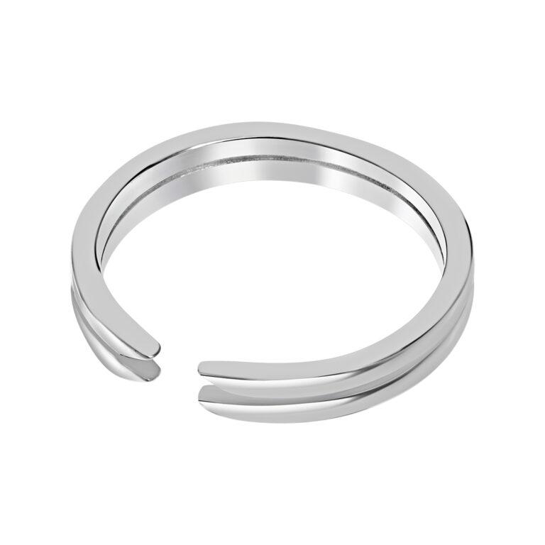 Dubbele zilveren ring met opening