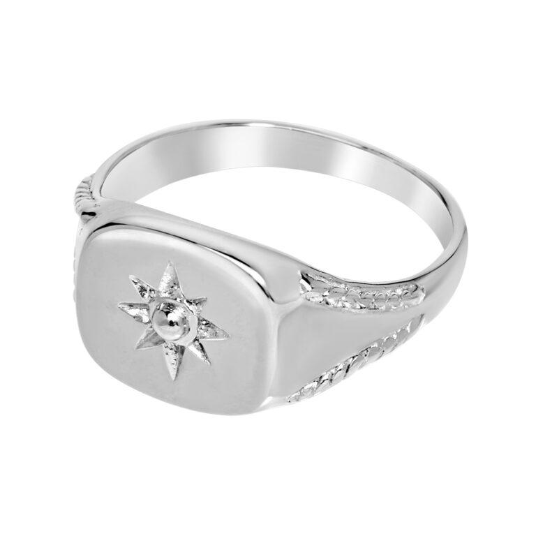 Zilveren zegel ring met zon design