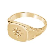Gouden zegel ring met zon design