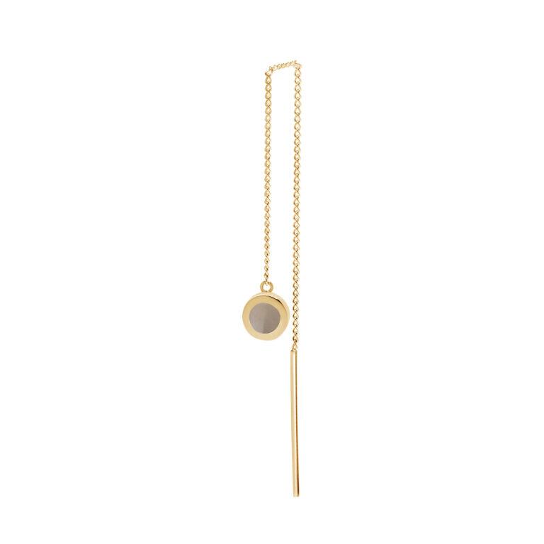 Gouden ketting oorbel met grijze ronde steen