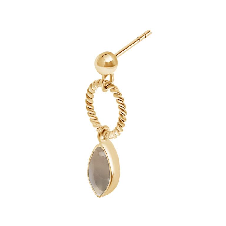 Gouden oorbel met grijze steen druppel hanger
