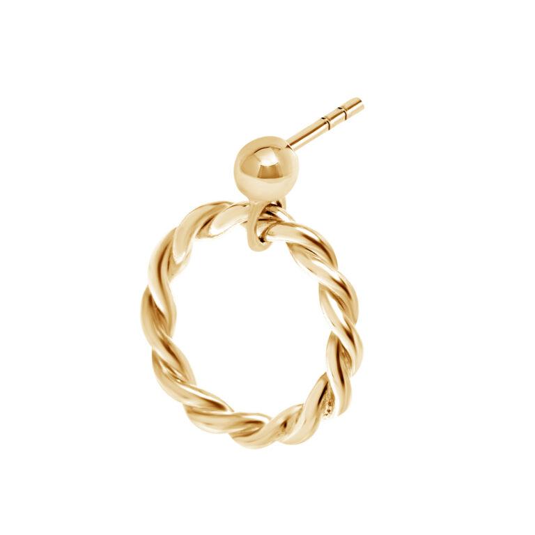 Gouden oorbel met gewikkelde ronde hanger