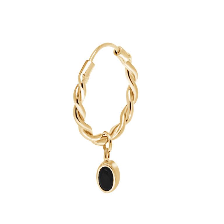 Gouden gewikkelde oorbel met een ronde bedel met zwarte steen