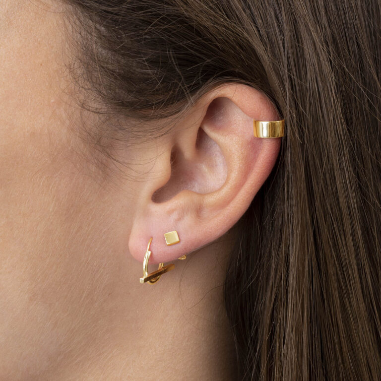 Georgia 18K Gold Plated Square stud gold plated earring