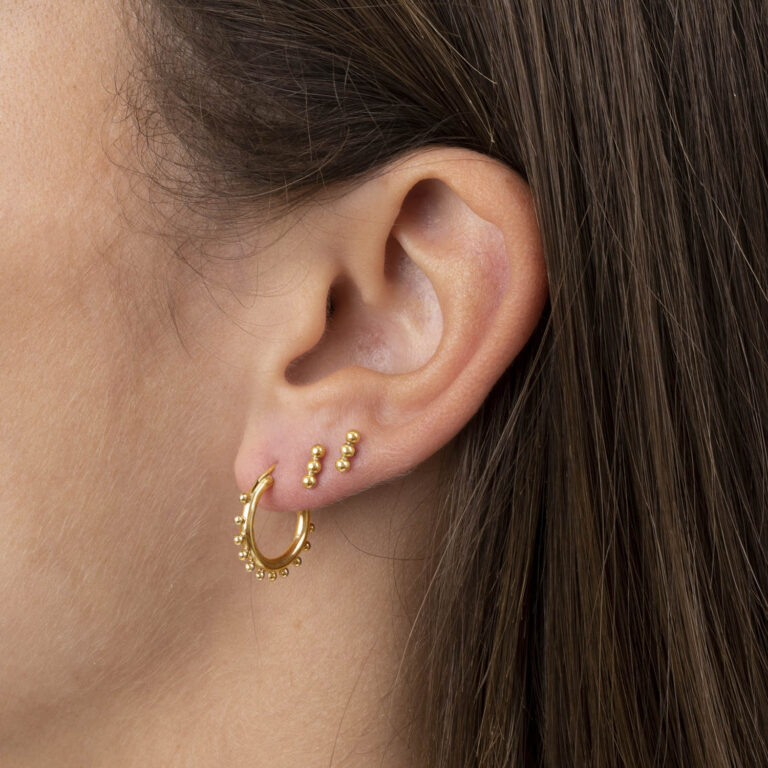 Serena 18K Gold Plated 3 ball stud gold plated earring