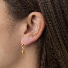 Pasha 18K Gold Plated Ovaalvormige hanger met kleine cirkel gold plated oorbel