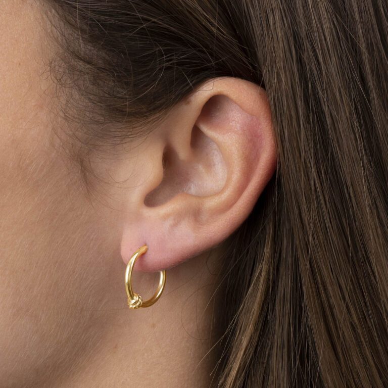 Sachy 18K Gold Plated Small twisted texture on ring gold plated earring