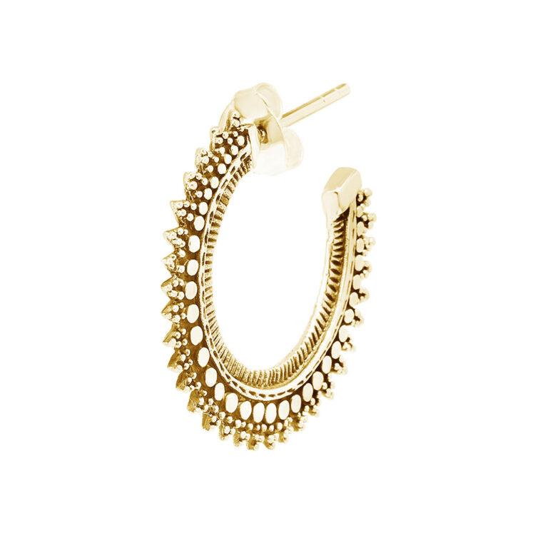 Soara 18K Gold Plated Diversiteit in textuur half open cirkel gold plated oorbel