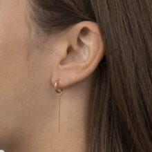 Thrisha 18K Gold Plated Cirkel ring met schakel ketting gold plated oorbel