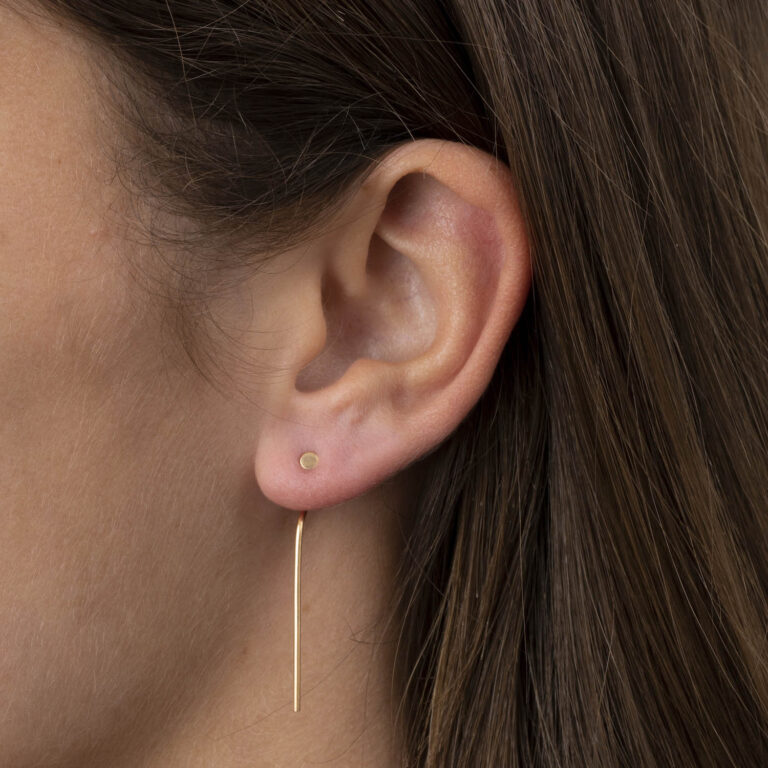 Tolla 18K Gold Plated Long back bar with round front stud gold plated earring