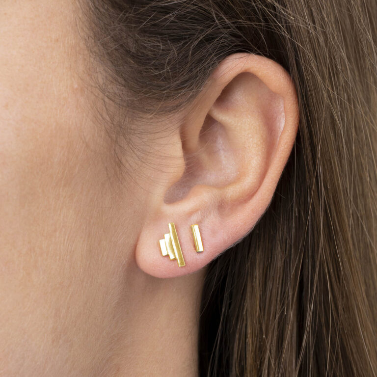 Valenc 18K Gold Plated Rechthoekige stud gold plated oorbel