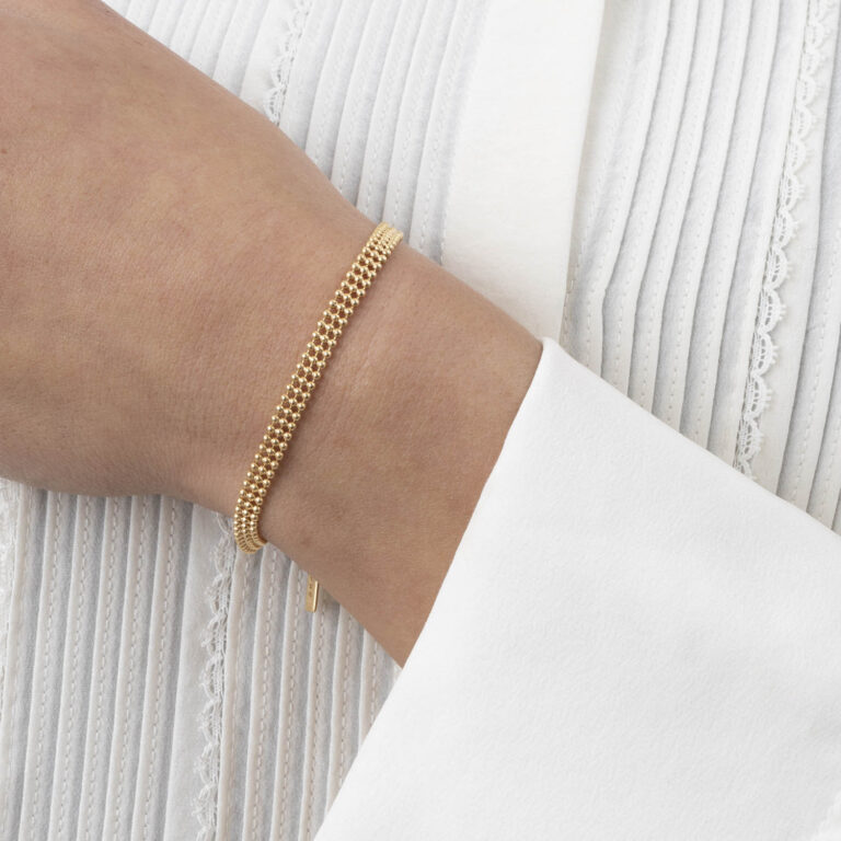 Dee 18K Gold Plated 3 layer balls gold plated bracelet