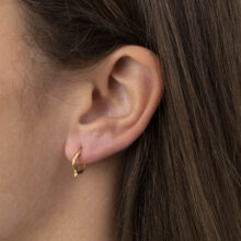 Eida 18K Gold Plated Circle with 1 dotted gold plated earring