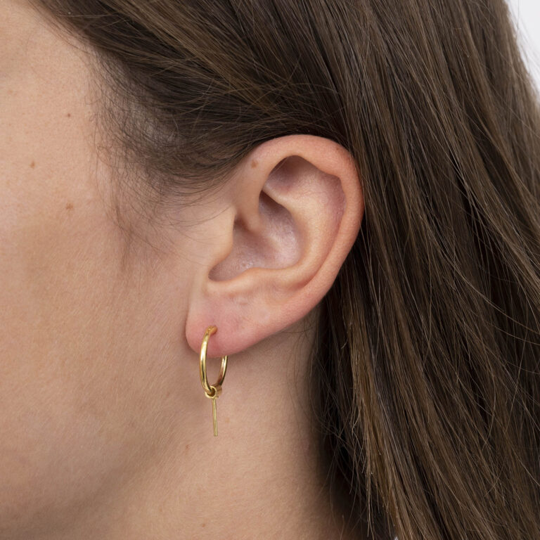 Elin 18K Gold Plated Open circle with hanging bar gold plated earring