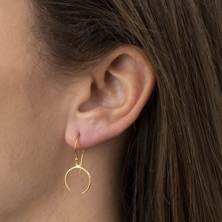 Xenna 18K Gold Plated Half open circle drop gold plated earring