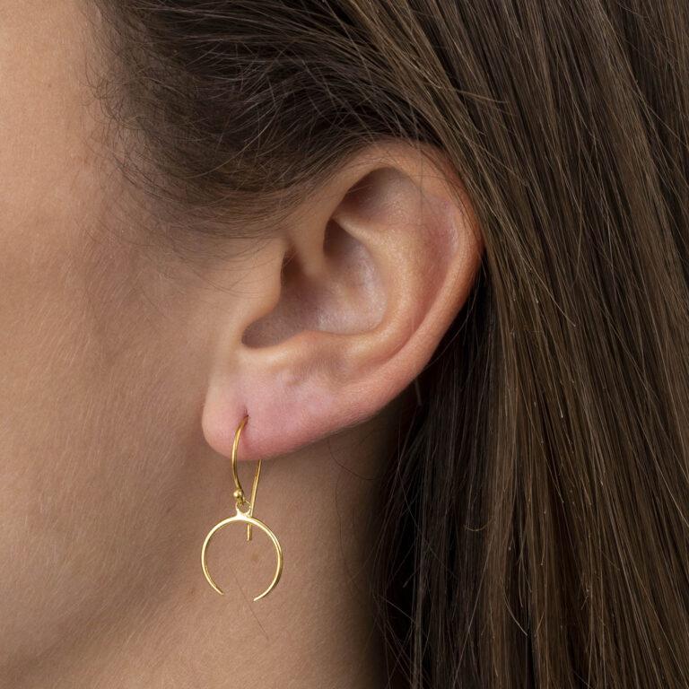 Xenna 18K Gold Plated Half open cirkel hangende gold plated oorbel