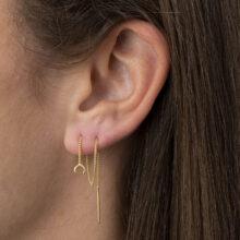 Dine 18K Gold Plated Doortrekbaar maanvormige hanger gold plated oorbel