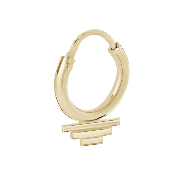 Franci 18K Gold Plated Circle ring with 3 stacked lines gold plated earring