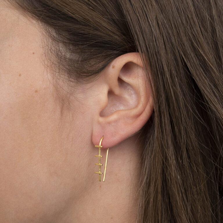Gael 18K Gold Plated Long Pull through hexagon open pendant silver earring