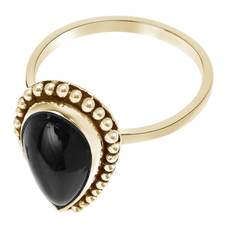 Gouden ring met druppel design en grote zwarte steen