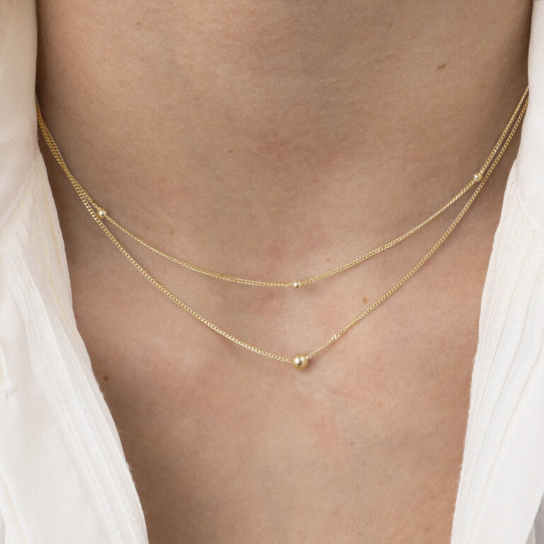 Kyla 18K Gold Plated 2 laags ball chain gold plated ketting