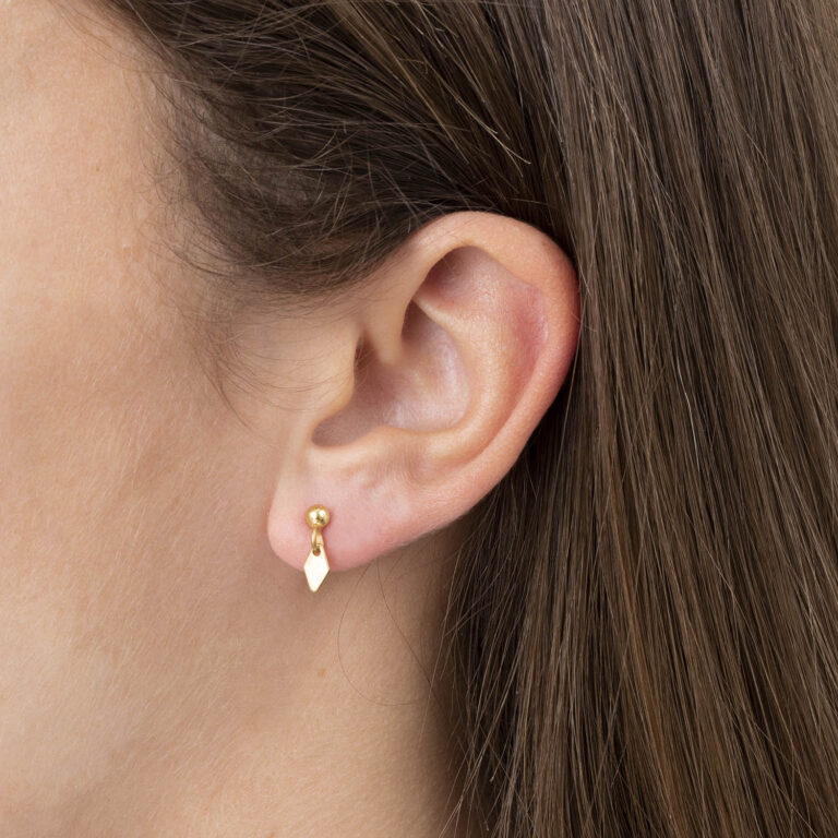 Niah 18K Gold Plated Daimond drop stud gold plated earring