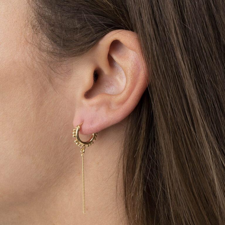 Pazz 18K Gold Plated Bobbelende rand ring met lange ketting gold plated oorbel