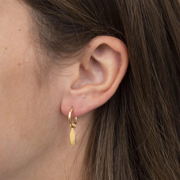 Renee 18K Gold Plated Platte rechthoekige hanger cirkel gold plated oorbel