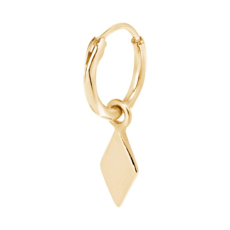 Ronde gouden oorbel met wybertje hanger