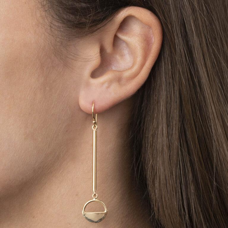 Siny 18K Gold Plated Lange staaf met half open cirkel hanger gold plated oorbel